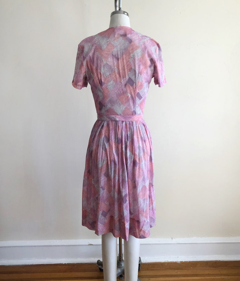 Pale Pink and Purple Geometric Print Shirtdress 1950s