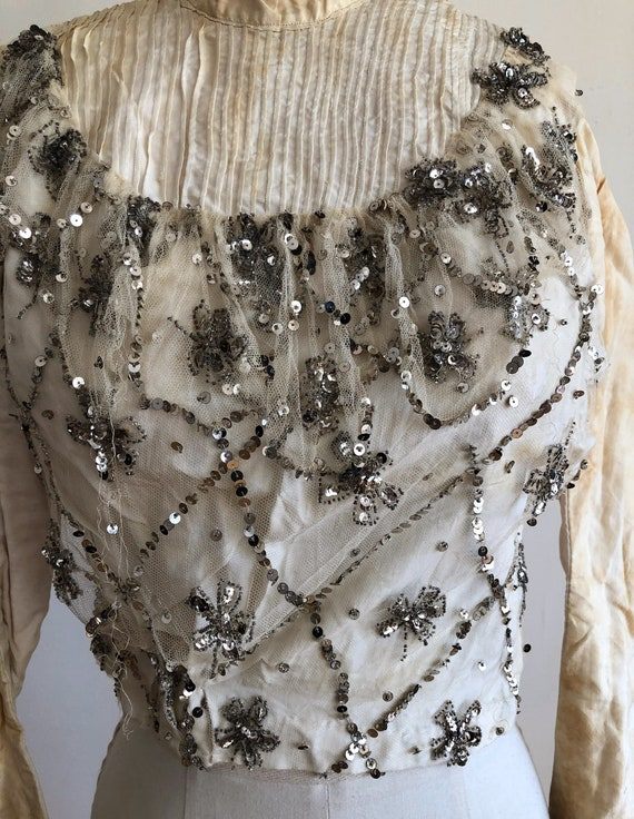 Off-White, Silver Sequined, Boned Bodice - Late 1… - image 3