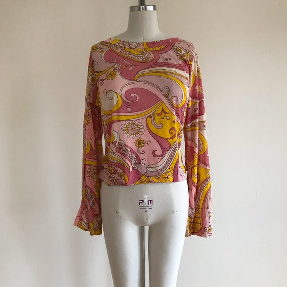 Bell-Sleeved Psychedelic Print Top - 1970s