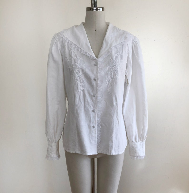White Linen Blend Blouse with Lace Trim and Embroidery 1980s