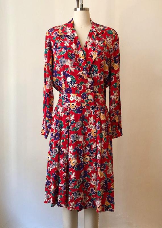 Bright Red Floral Print Midi Dress - 1980s