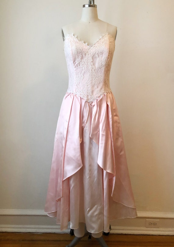 Lace Overlay Pink Gunne Sax Gown - 1980s