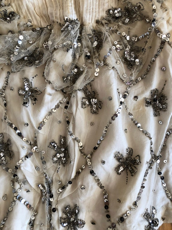 Off-White, Silver Sequined, Boned Bodice - Late 1… - image 10