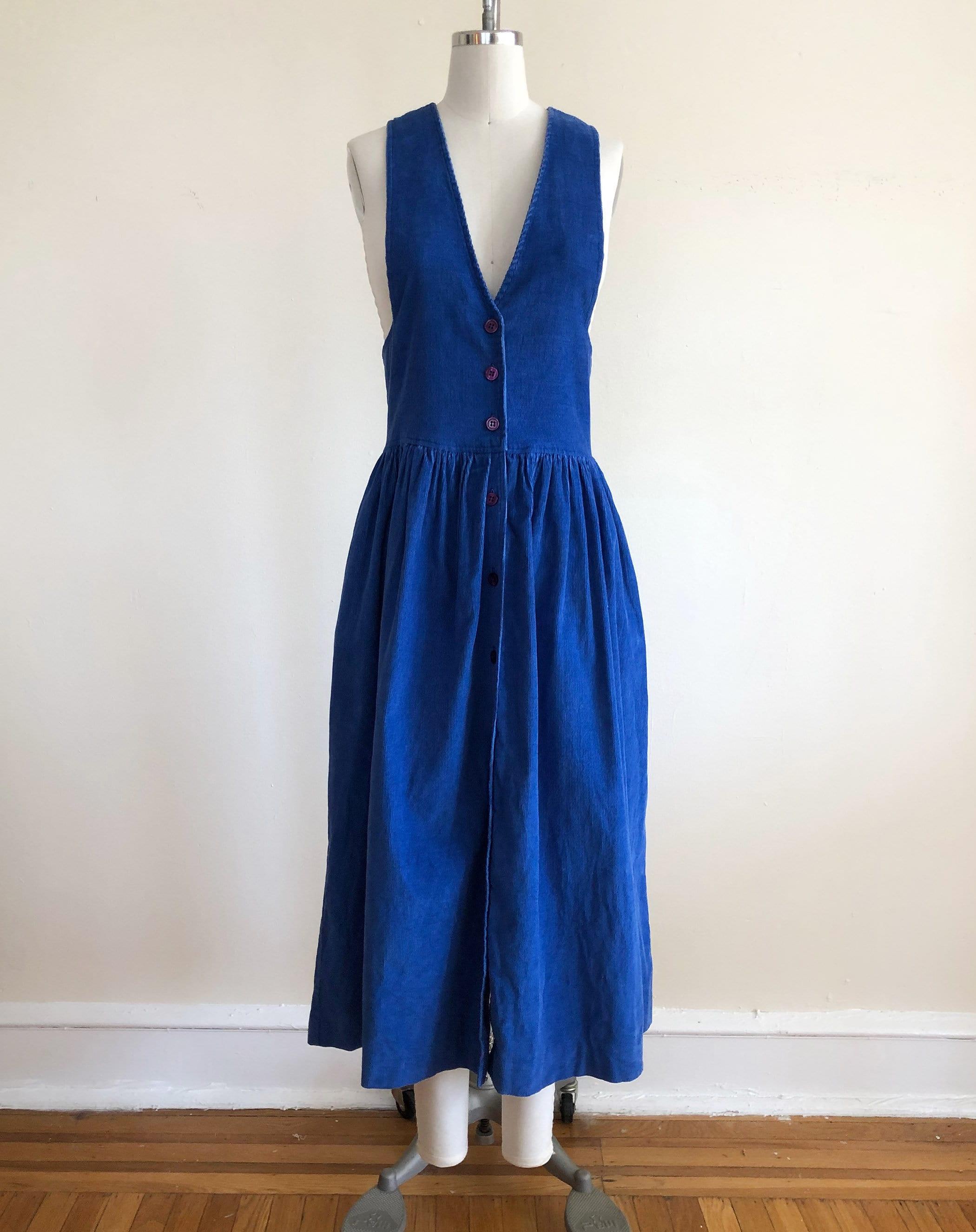 80s Dresses | Casual to Party Dresses Bright Blue Corduroy Pinafore Dress - 1980S $28.00 AT vintagedancer.com