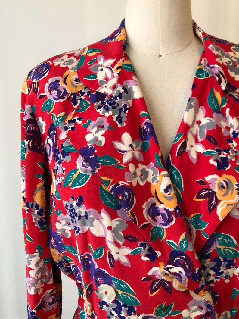 Bright Red Floral Print Midi Dress 1980s