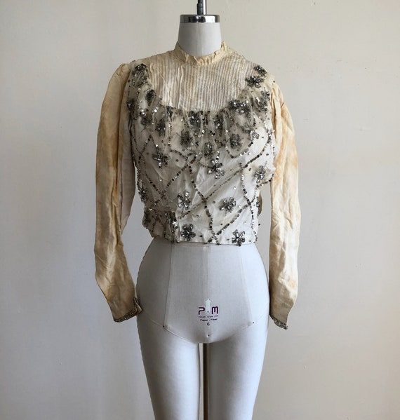 Off-White, Silver Sequined, Boned Bodice - Late 1… - image 1
