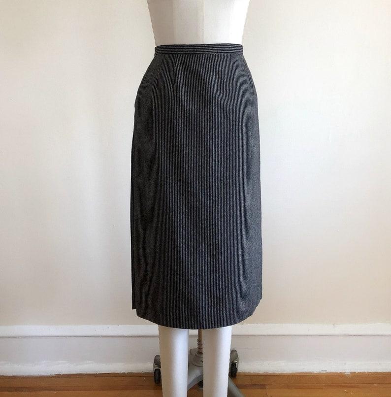 1980s Black and Gray Pin-Striped Wool Midi Skirt