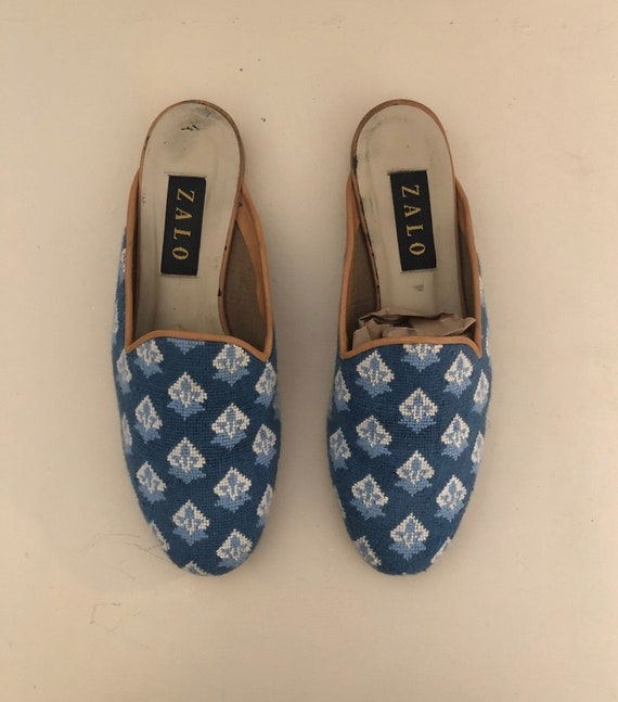 Blue and Cream Needlepoint Mules/Slip-Ons - Size 9