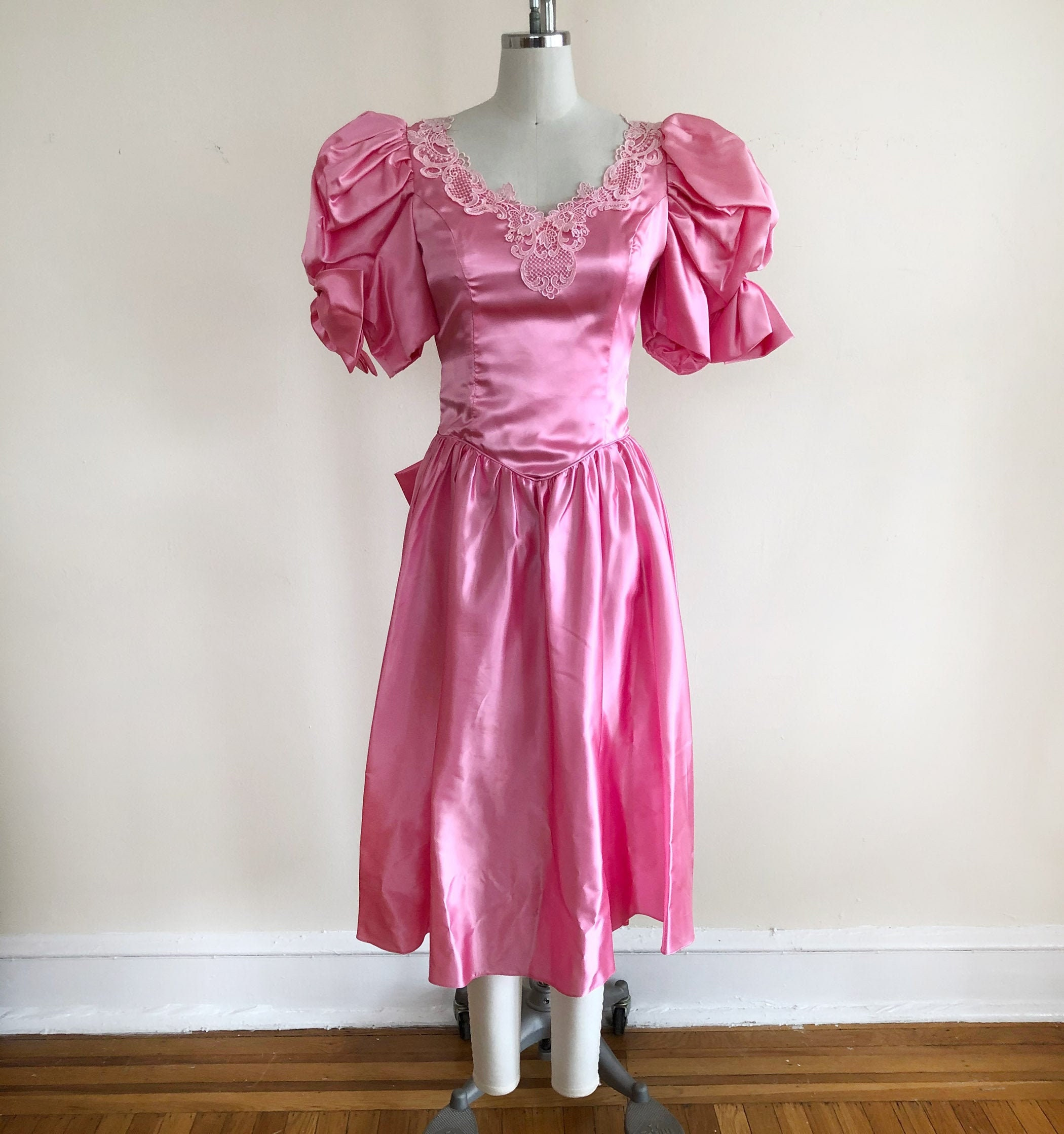 80s Dresses | Casual to Party Dresses Bright Pink Satin Party Dress - 1980S $28.00 AT vintagedancer.com