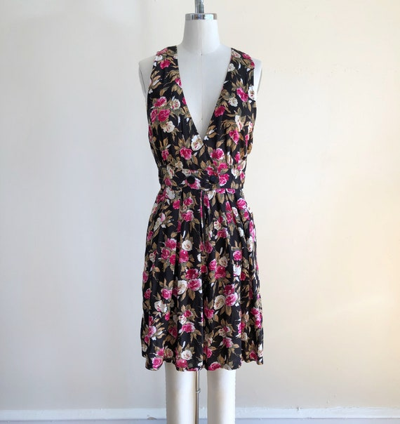 Sleeveless Black and Pink Floral Print Romper - Ea