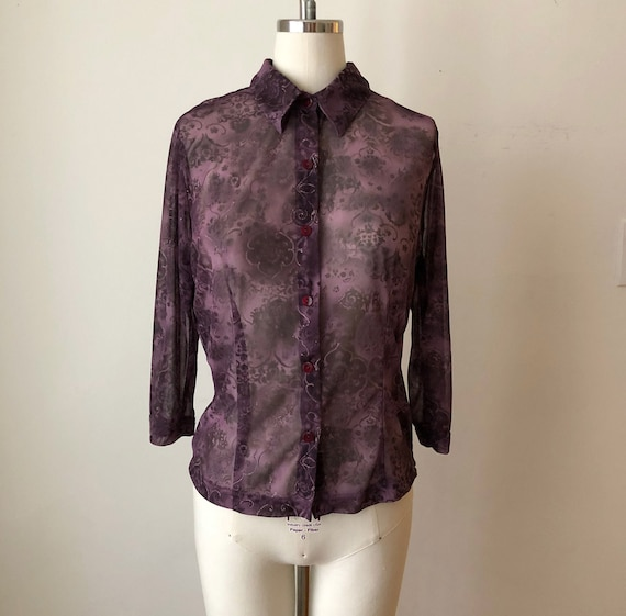 Dark Purple, Printed Mesh Button-Down Top - 1990s