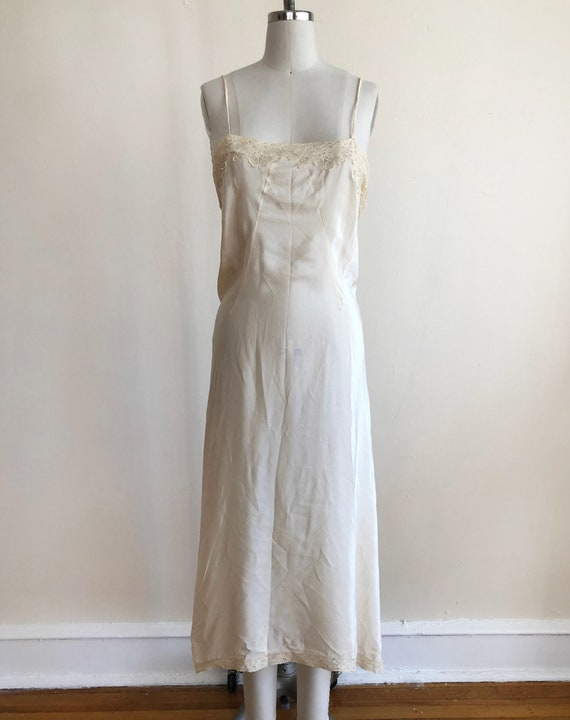Ivory, Lace Trimmed Silk Dress Slip - 1930s