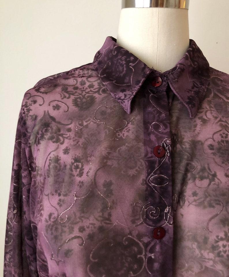 Dark Purple Printed Mesh Button-Down Top 1990s