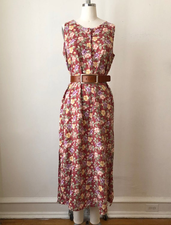 Red Tropical Floral Print Linen Dress - 1990s