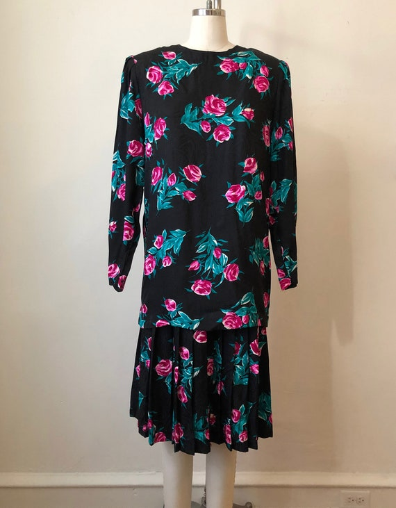 Oversized Black and Bright Pink Floral Print Silk