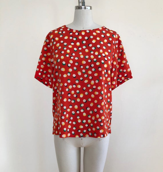 Bright Orange Dot Print Blouse - 1980s
