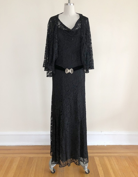 Black Lace Dress with Matching Shrug and Velvet Rh