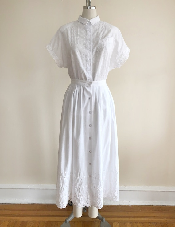 White Eyelet Matching Blouse and Skirt Set - 1980s