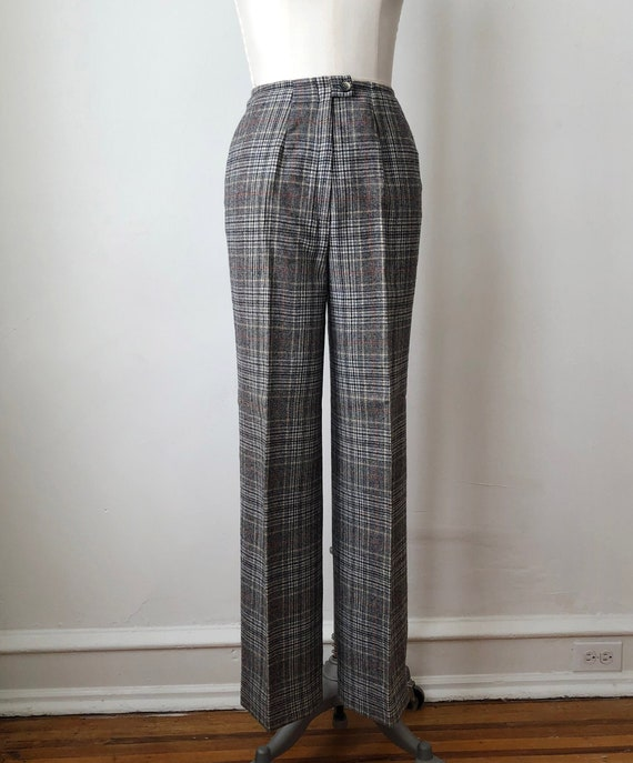 Grey Plaid Wool Pants - 1970s
