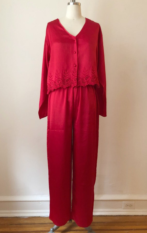 Red Satin Pajama Set - 1980s