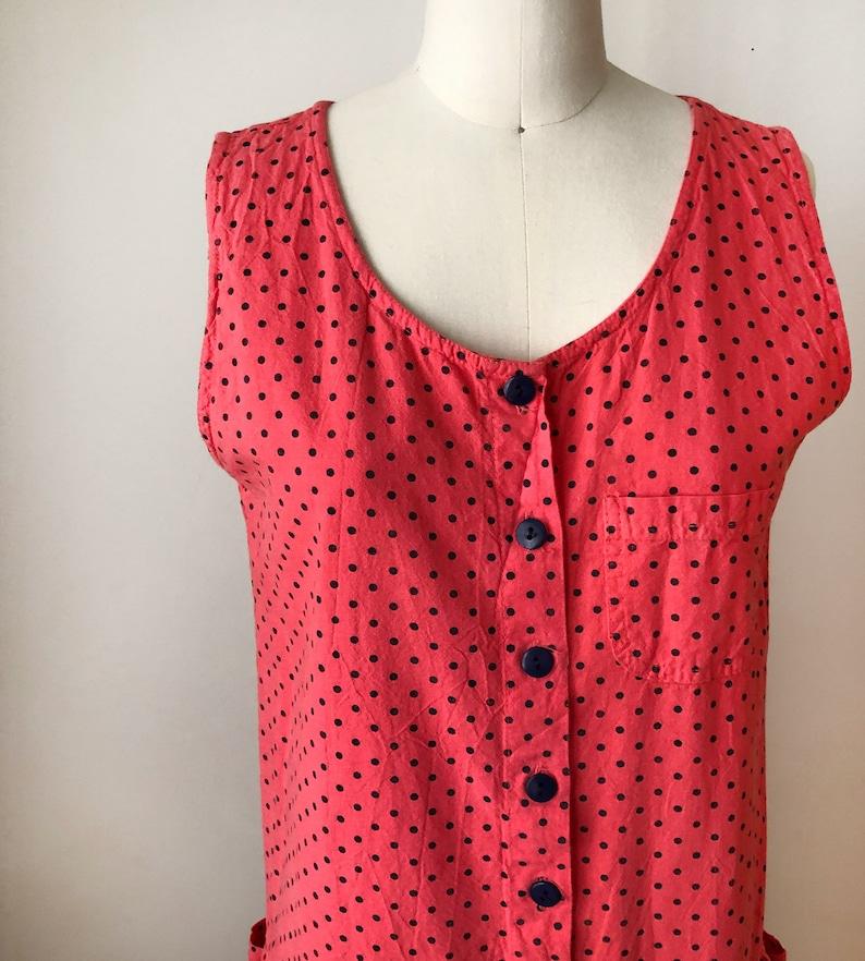 1980s Red and Navy Polka Dot Mini-Dress