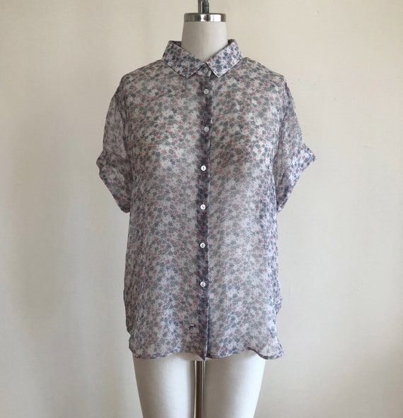 1990s Sheer Floral Print Silk Button-Down Shirt