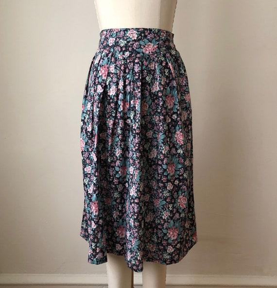 Black Floral Print Midi-Skirt - 1980s