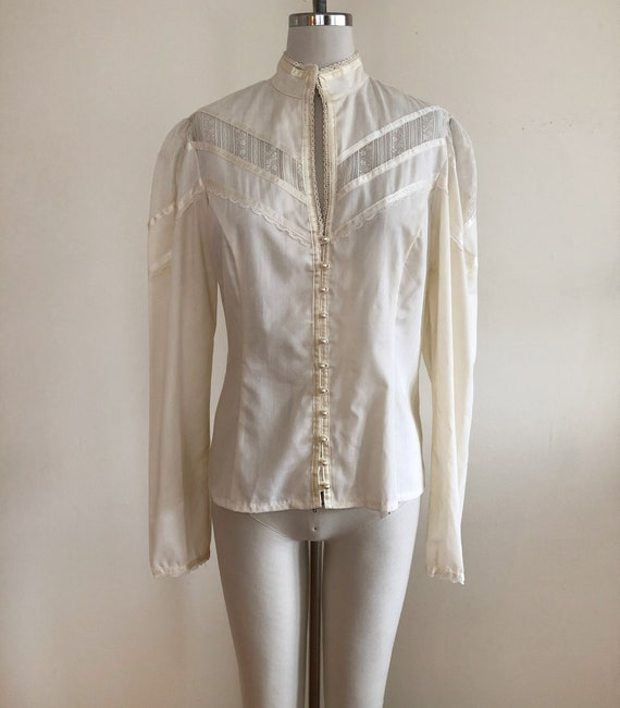 Long-Sleeved Cream Gunne Sax Blouse with Lace Inse