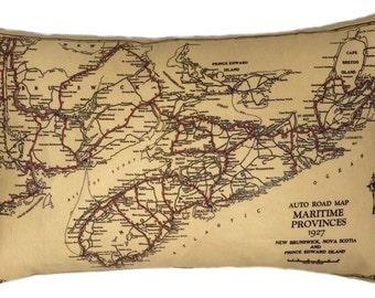 Nova Scotia and New Brunswick Vintage Map Pillow - FREE SHIPPING