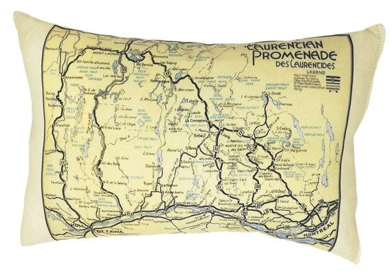 FREE SHIPPING Bancroft Vintage Map Pillow