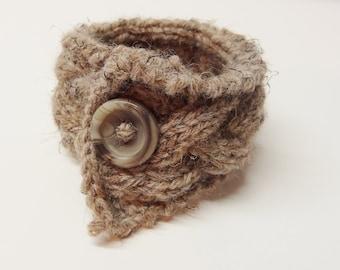 Cabled Bracelet in browns Knitted Yarn Bracelet