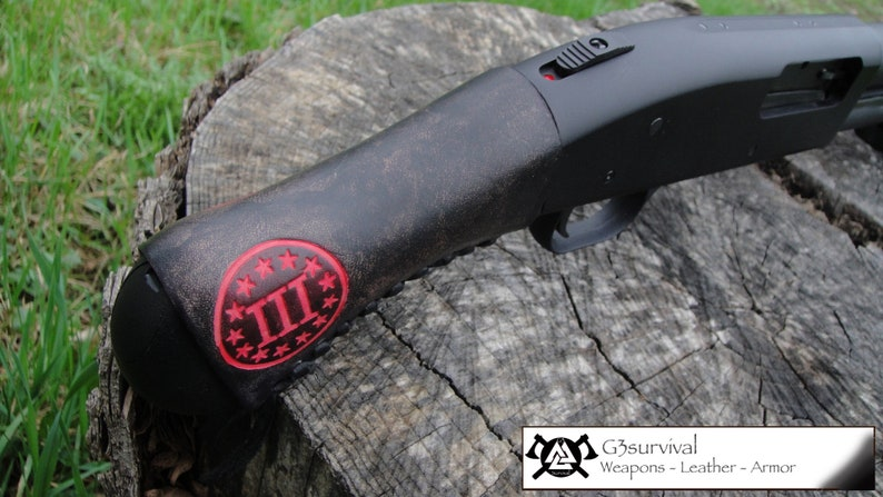 III% Revolutionary Remington Tac 14 / Tac 13 shockwave leather Raptor grip  sleeve
