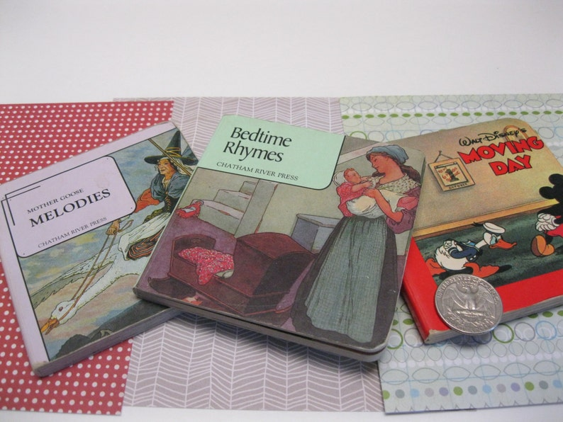 Vintage Baby Books Hard Cardstock Laminated Mini Book Trio for Toddlers  Mother Goose and Disney Color Illustrated