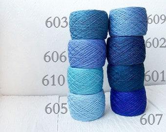 blue Crochet Thread collection - high quality 100% Linen Thread