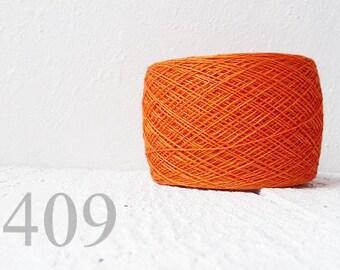 Orange Laceweight Linen yarn - tangerine tango # 409