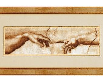 The Creation of Adam by Leonardo da Vinci Pewter Pin Badge