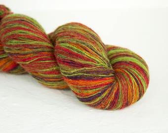Knitting art wool red, orange, purple, green  colors, Longstriped artistic wool. Aade Long  8/1