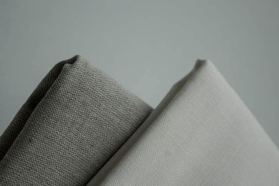 Undyed Linen fabric in snow white light grey and natural grey colors  160gm weight fabric for sewing natural white Pure Linen fabric