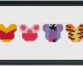 Mouse Ears Pooh and Friends Cross Stitch Pattern .PDF - Instant Download