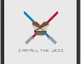 Mouse Ears Galaxy Rey I Am All the Jedi Cross Stitch Pattern .PDF - Instant Download