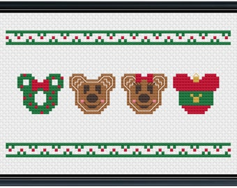 Mouse Ears Christmas Cross Stitch Pattern .PDF - Instant Download