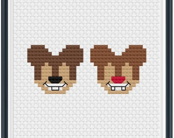 Mouse Ears Chip + Dale Cross Stitch Pattern .PDF - Instant Download