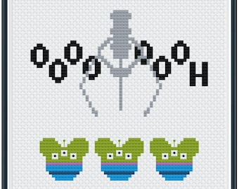 Toy Alien with Claw Oooh Cross Stitch Pattern .PDF - Instant Download