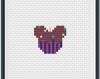 Mouse Ears Birthday Cupcake Cross Stitch Pattern .PDF - Instant Download