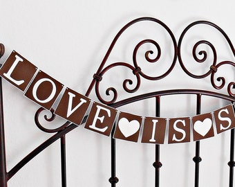 FREE SHIPPING, Love is Sweet banner, Bridal shower banner, Wedding banner, Engagement party decoration, Bachelorette party decoration, Brown