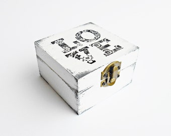 SALE, FREE SHIPPING, Wedding antique white ring bearer box / pillow, Wooden box, Pillow alternative, Wedding keepsake box, Card box, Love