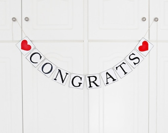 FREE SHIPPING, Congrats banner, Bridal shower banner, Wedding banner, Bachelorette party decor, Engagement party, Graduation banner, Red