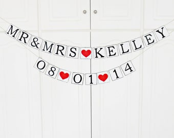 FREE SHIPPING, Personalized wedding banner, Save the date, Mr & Mrs, Bridal shower banner, Engagement party decor, Bachelorette party decor