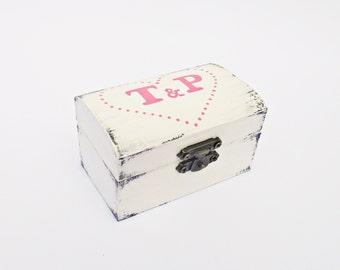 FREE SHIPPING, Personalized wedding antique white ring bearer box / pillow, Wooden ring bearer box, Pillow alternative, Initials names box