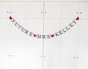 FREE SHIPPING, Future Mrs...customize your name banner, Bridal shower decorations, Bachelorette party, Engagement party decoration, Deep red